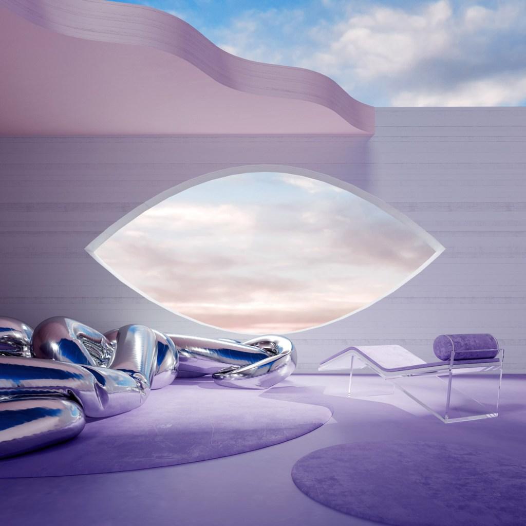 Em tons de roso, uma parede em tom mais claro tem uma abertura em formato de olho com visão para um céu com nuvens rosadas e brancas. No Interior, um objeto inflável e prateado se assemelha a uma serpente, dois tapetes felpudos redondos roxos sobre o piso também roxo, com uma passadeira de vidro com uma cobertura em roxo. O teto é incompleto em formato ondulado, cobrindo apenas metade do ambiente