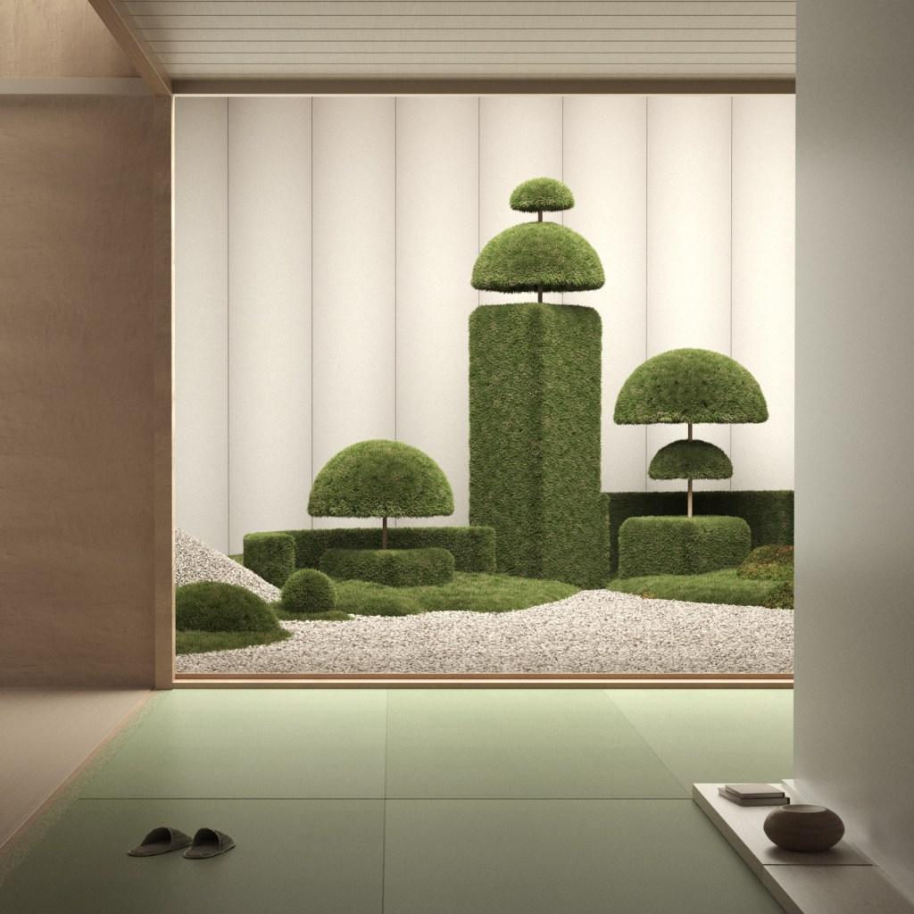 Cômodo com piso verde, com chinelos do lado esquerdo, com abertura para um jardim de inverno de cascalho e arbustos