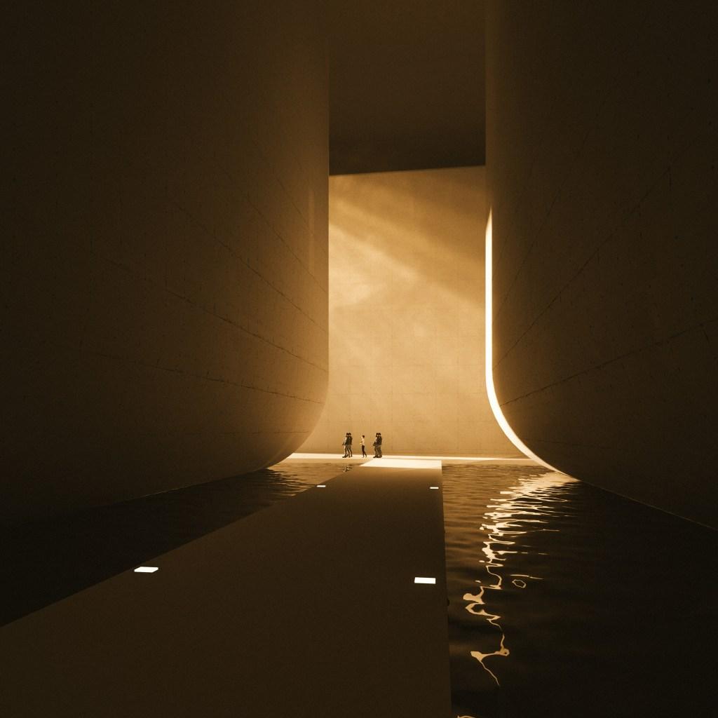 Passarela sobre um tanque de água com duas pilastras arredondadas e iluminadas em tom âmbar, com três pessoas andando ao fundo