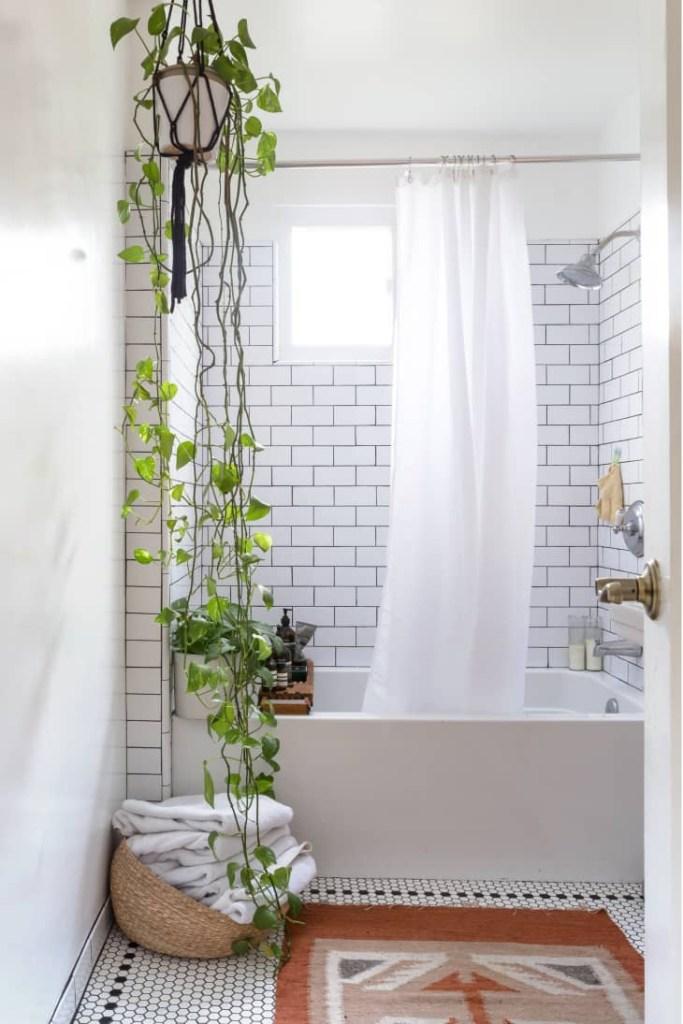 Banheiro branco com ladrilhos retangulares branco com uma banheira branca e uma planta pendente do lado esquerdo da área de banho