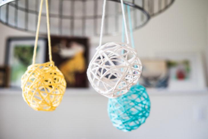 Globos para pendurar feitos com lã