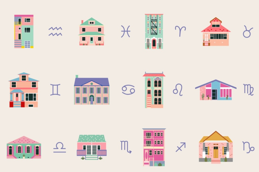 Ilustração com casas diferentes e o símbolo de cada signo ao lado