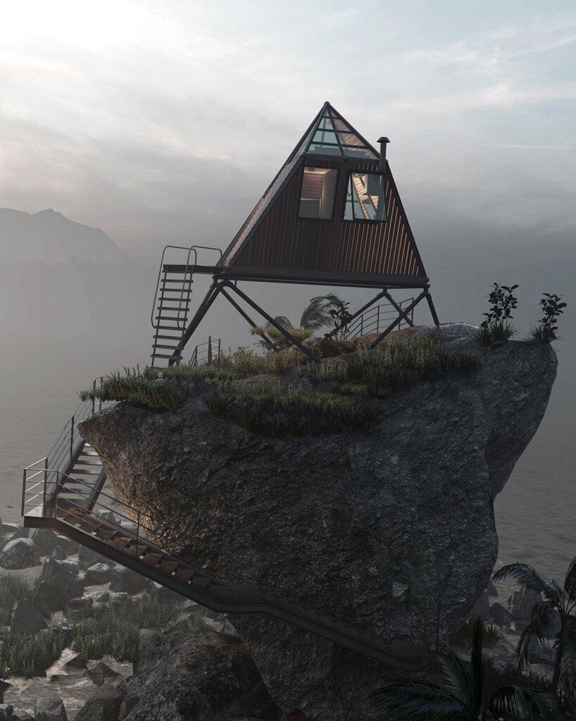 Casa em formato triangular, contruída sobre uma rocha de frente para o mar, elevada com acesso por escadas de metal