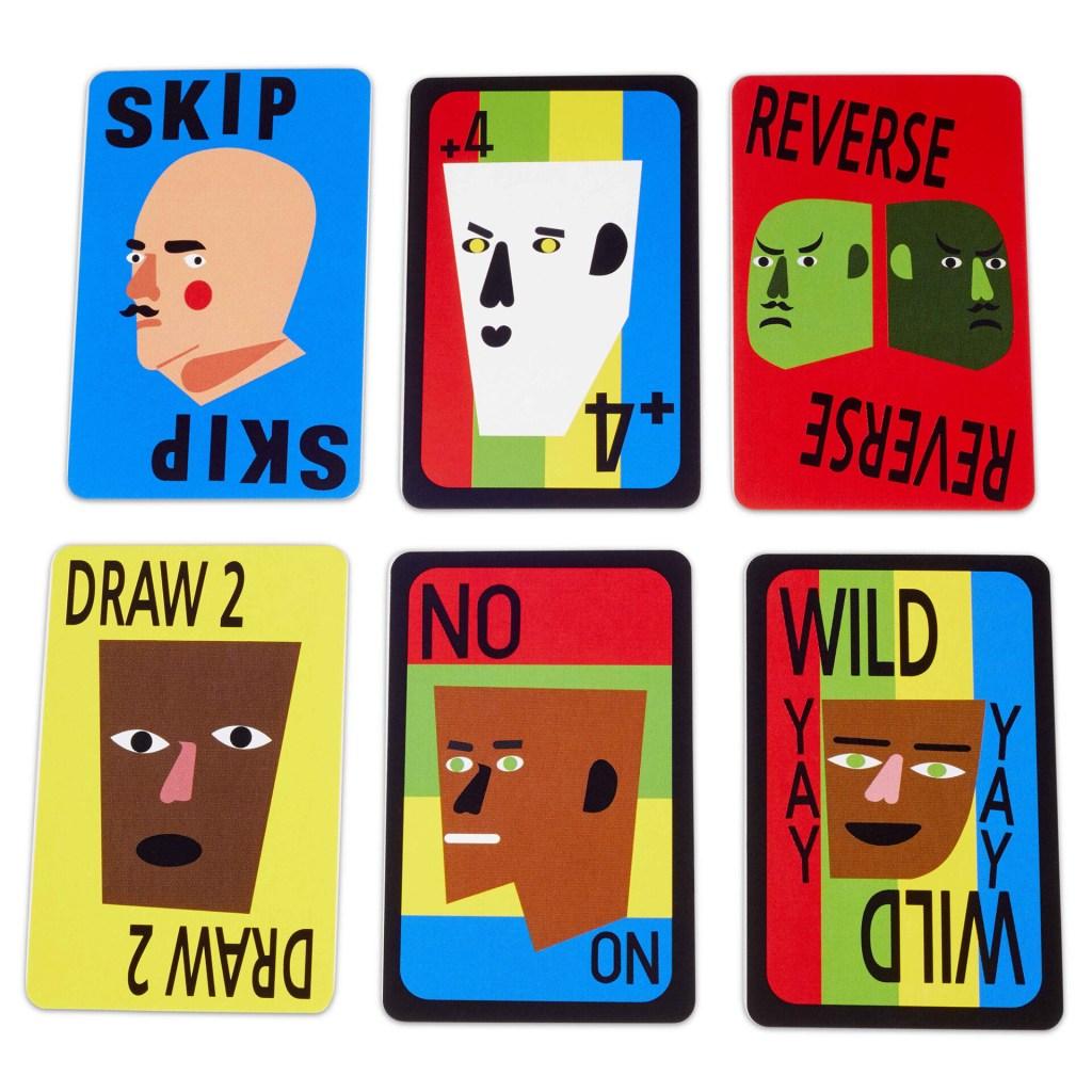 Seis cartas de Uno com as faces viradas para cima