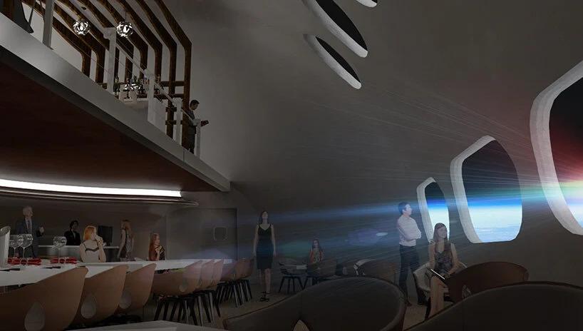Render do restaurante da estação espacial, com cores acizentadas e com vista para o espaço