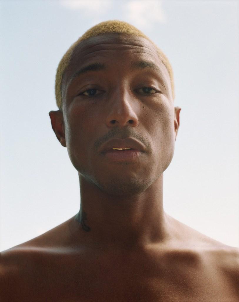 Foto do busto do cantor e produtor Pharrell Williams, sem camisa e com o cabelo loiro bem baixo.