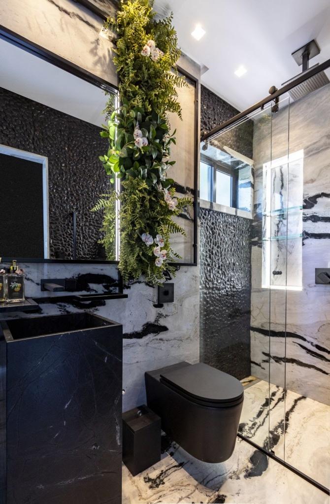 Inspirações de banheiro preto e branco