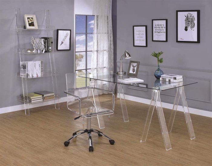 Escritório com mesa, cadeira e prateleiras de acrílico incolor