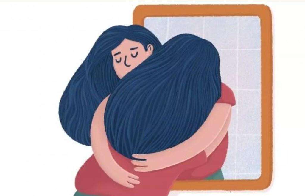 Desenho de mulher com blusa vermelha e cabelos pretos abraçando seu reflexo que sai do espelho