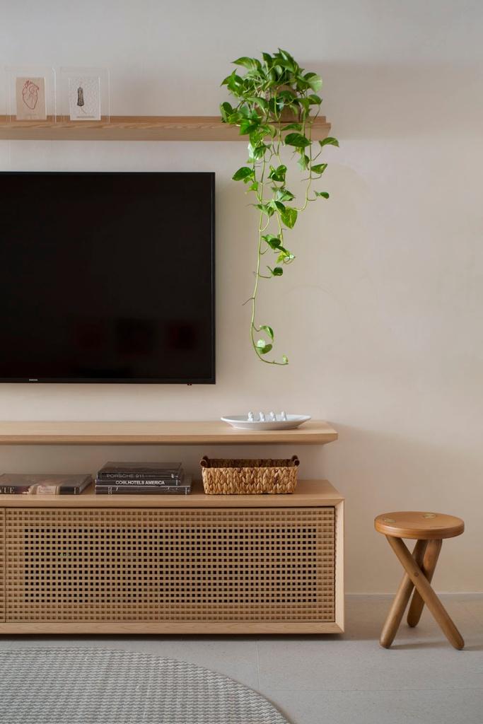Hack em madeira com tv. Prateleira acima da tv com vaso de jiboia.