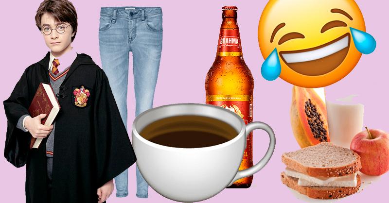 """Montagem com harry potter, calça jeans skinny, xícara de café, litrão, café da manhã e emoji """"chorando de rir"""""""
