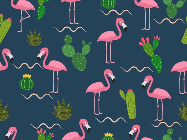 Estampa de flamingos desenhados e cactus