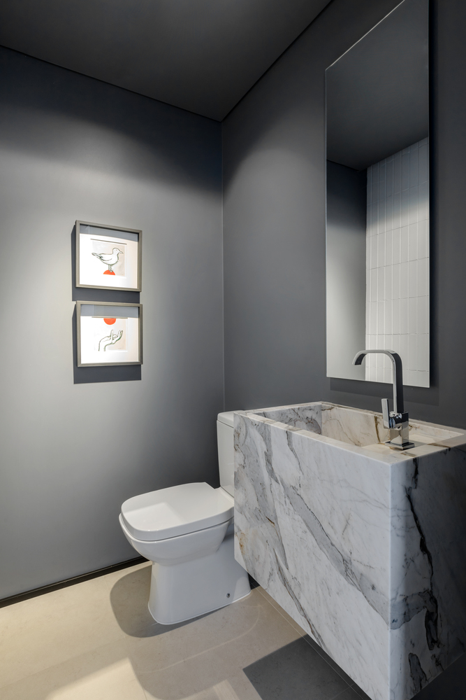 Lavabo, com paredes cinzas e vaso branco. A cuba é feita em pedra com detalhes
