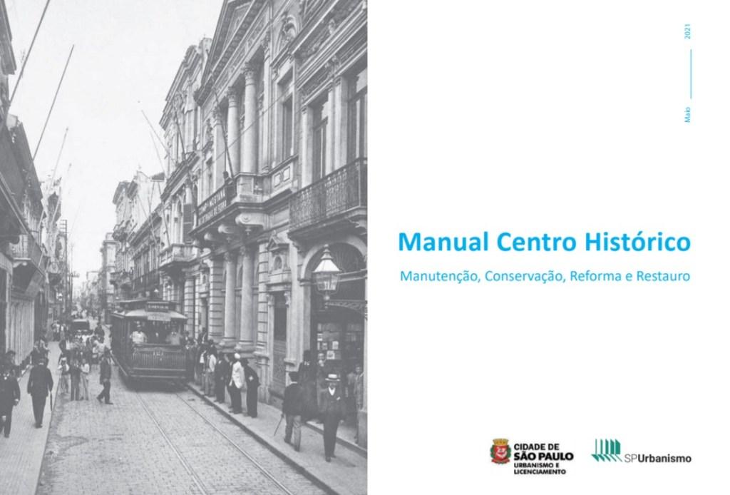 Capa do manual online da prefeitura. Foto preta e branca na lateral esquerda e título em azul do lado direito