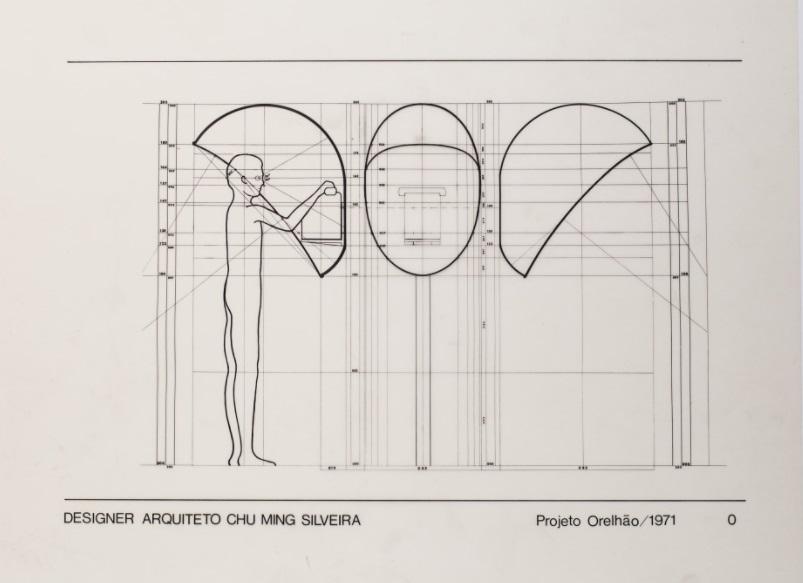 Projeto em desenho técnico do orelhão