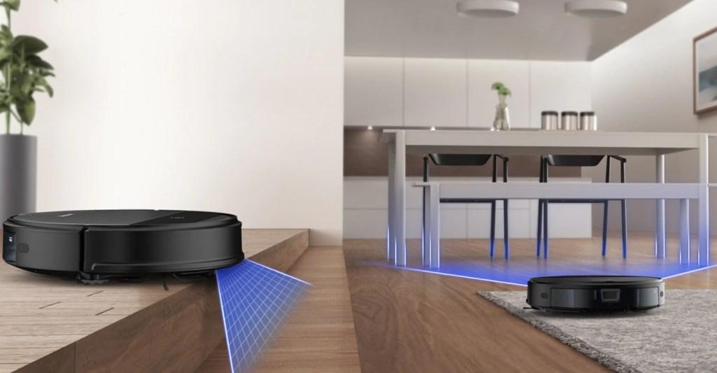 Imagem ilustrando o alcance dos sensores do robô aspirador