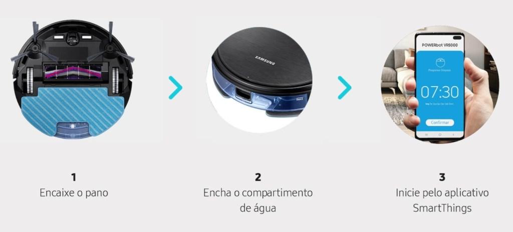 Foto da parte de baixo do aspirador e o celular com o aplicativo