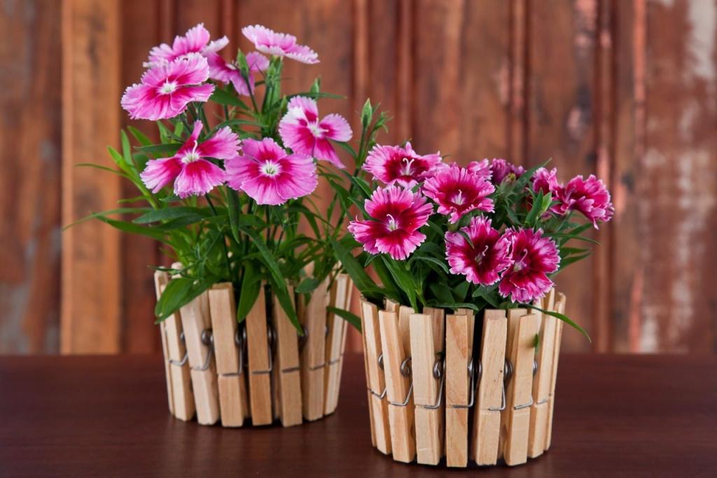 Vaso de planta decorado com prendedores