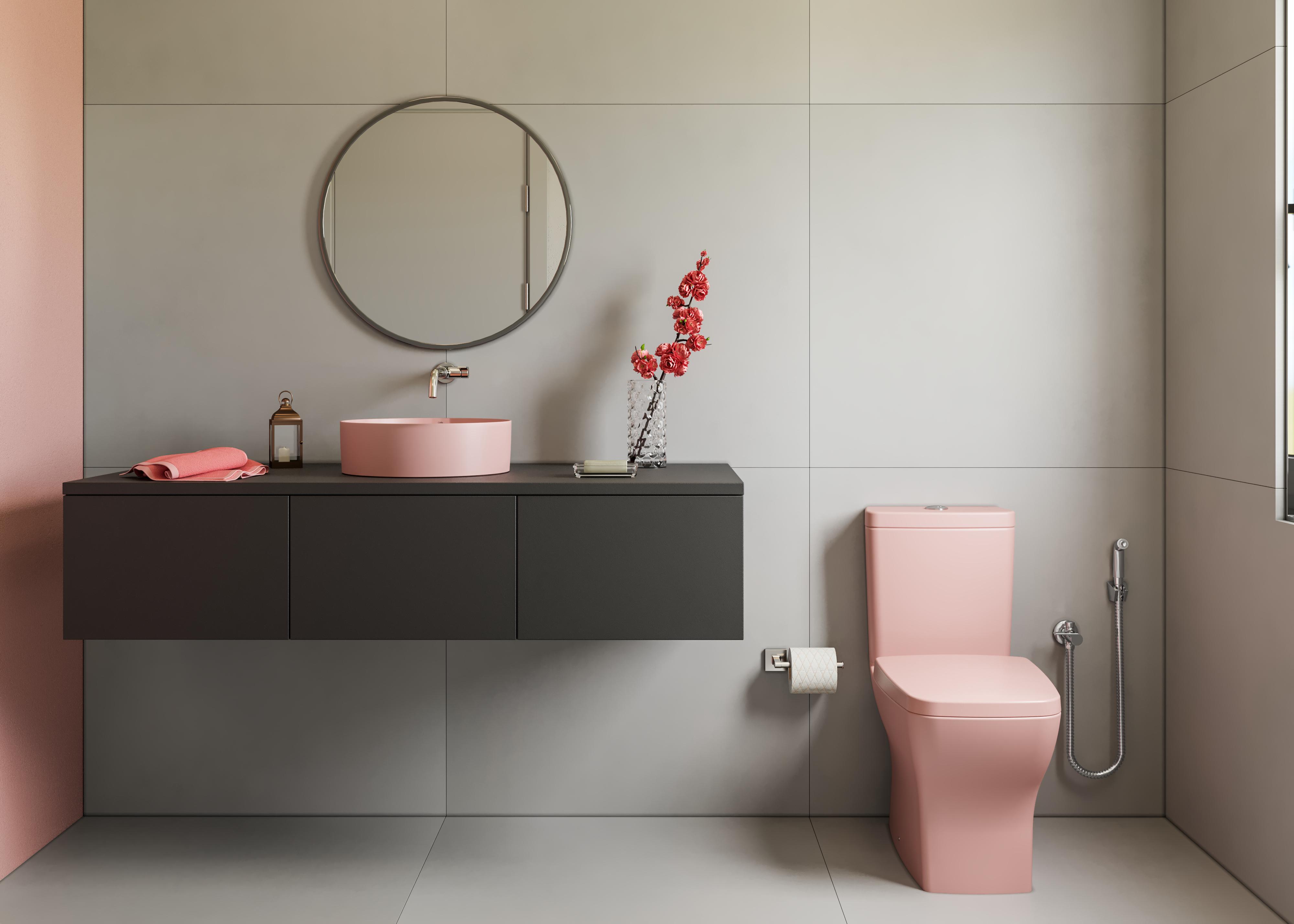 Banheiro com cuba e bacia rose da Incepa