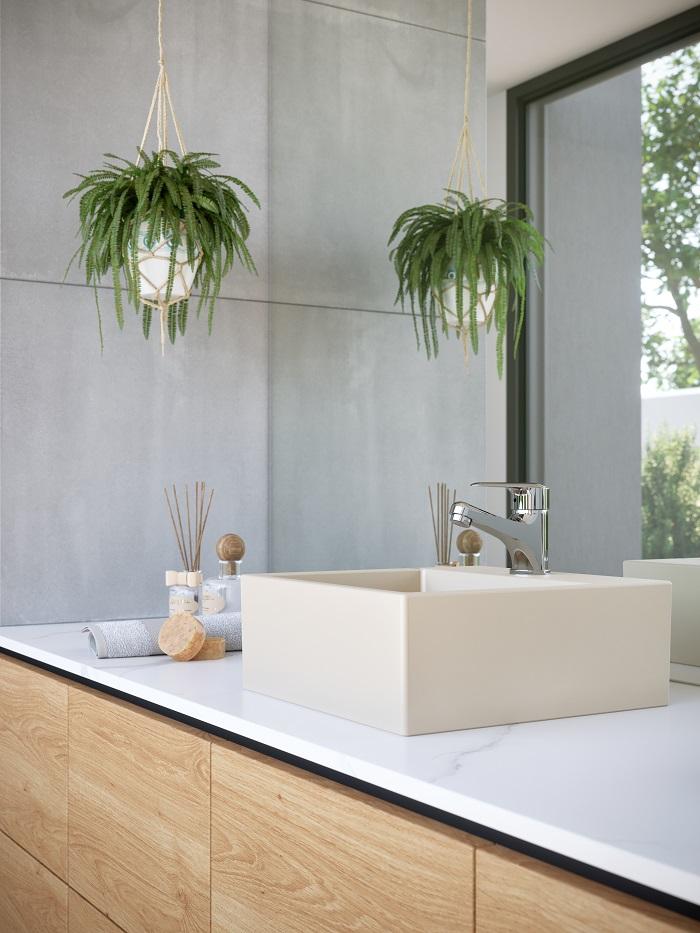 Banheiro minimalista que usa cuba champagne da Incepa