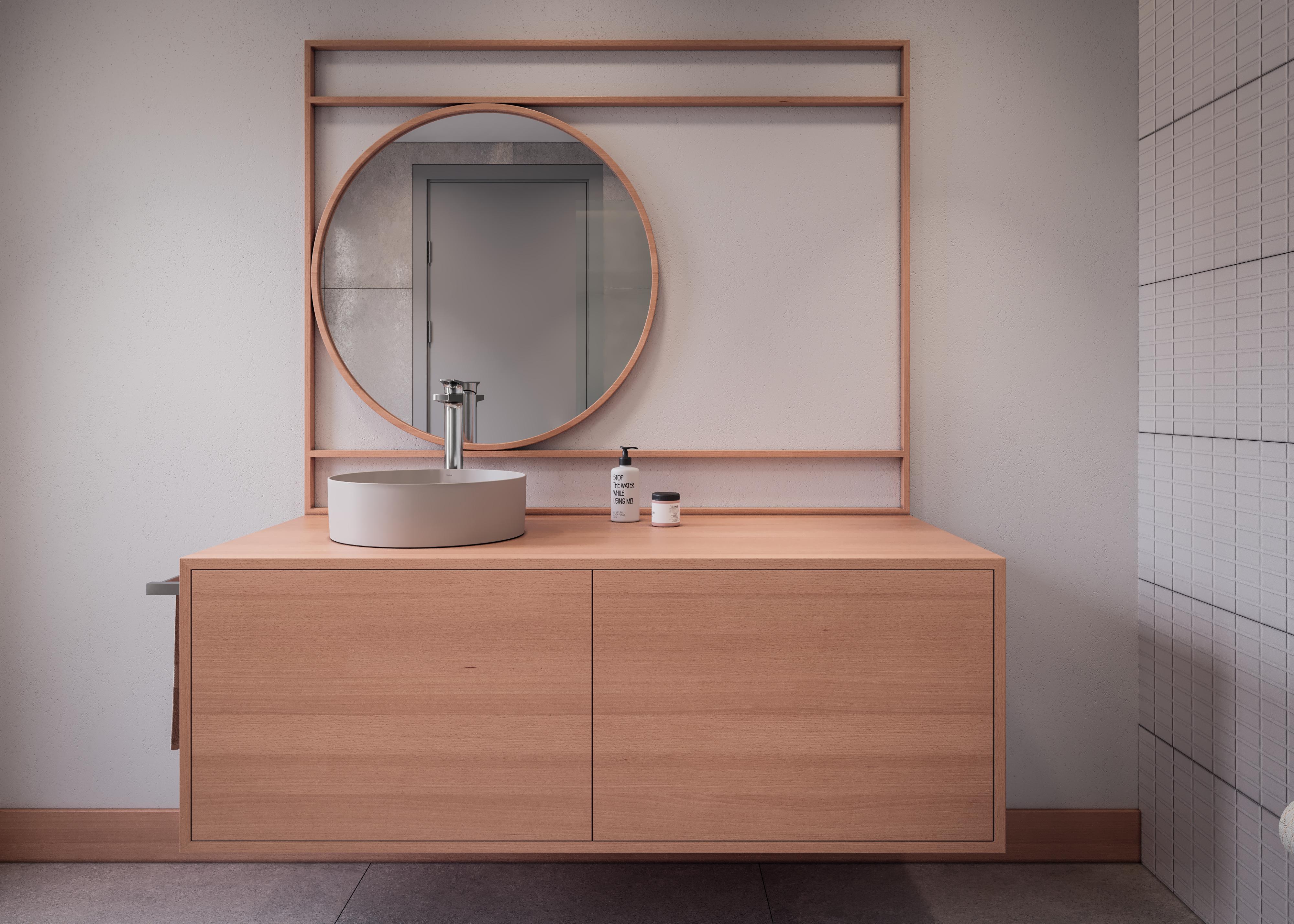 Banheiro com estética aconchegante e cuba na cor champagne