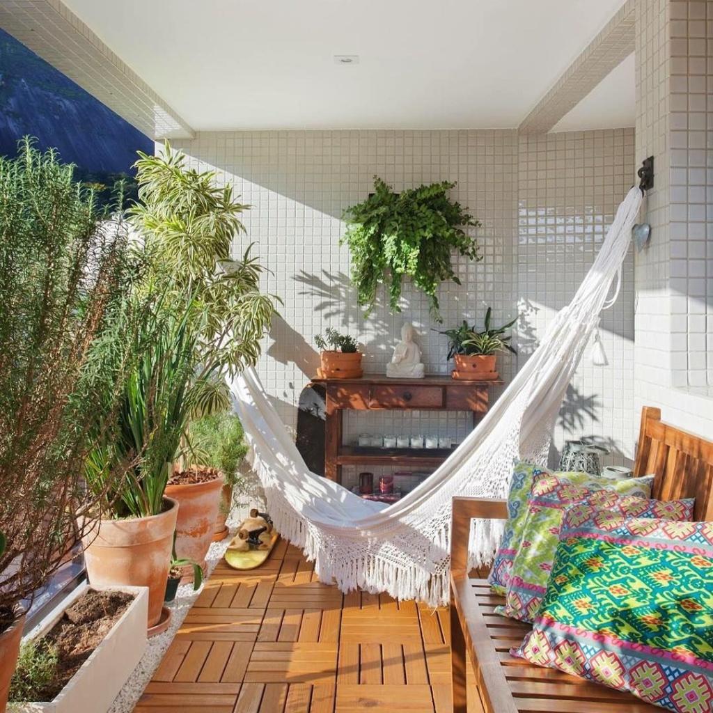 varanda com decoração zen